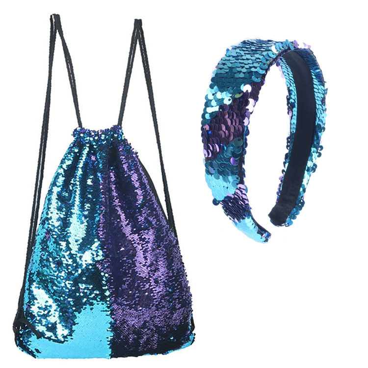 Mermaid Sequin Bag Headband Set Sports Drawstring Backpack Outdoor Cosmetic Storage XH24