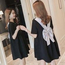 Maternity Clothes Pregnant Women Wearing Summer Doll Dresses Back Bow Knot Pregnant Women Short-sleeved Korean Pregnancy Dress