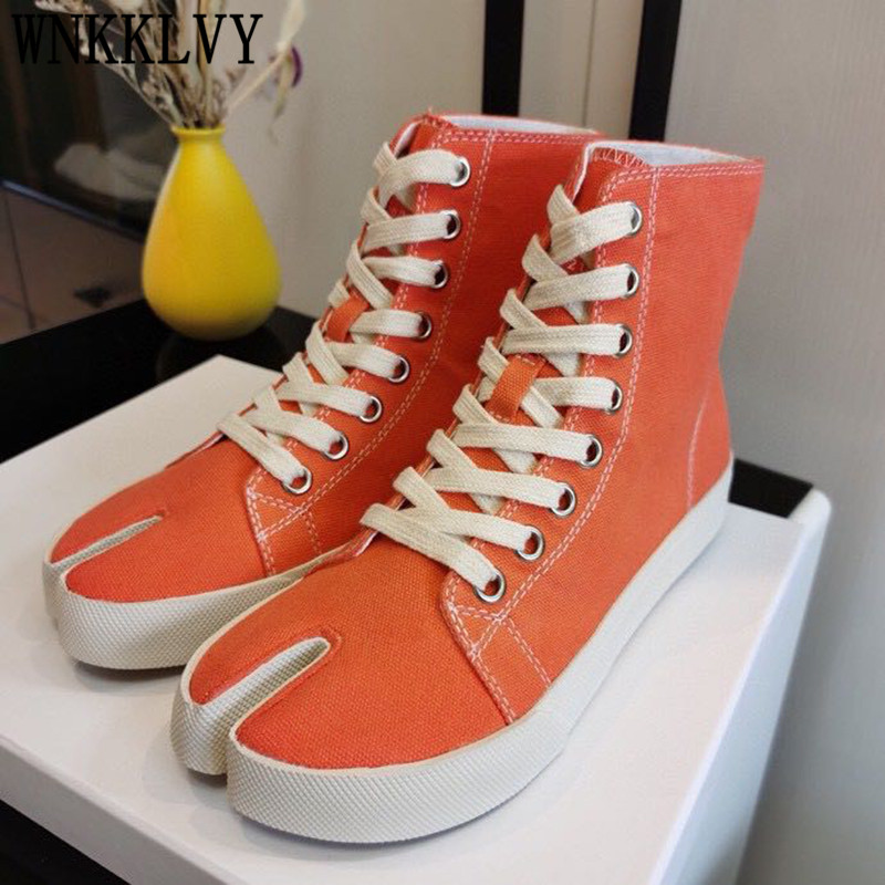 Spring High Top Split Toe Casual Shoes Women Thick Sole Lace Up Canvas Sweety Color Comfort Pig Trotter Horseshoe Flat Shoes