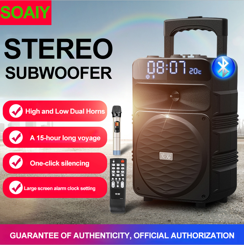 Image 2 - T50 Bluetooth Trolley Speakers Large Volume Audio Home Party Performance Subwoofer Outdoor Mobile Speaker Support Wireless MicPortable Speakers   -