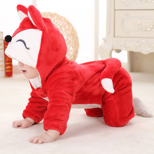 Image 4 - Umorden Baby Red Fox Costume Kigurumi Cartoon Animal Rompers Infant Toddler Child Jumpsuit Onesie Flannel Halloween Fancy Dress