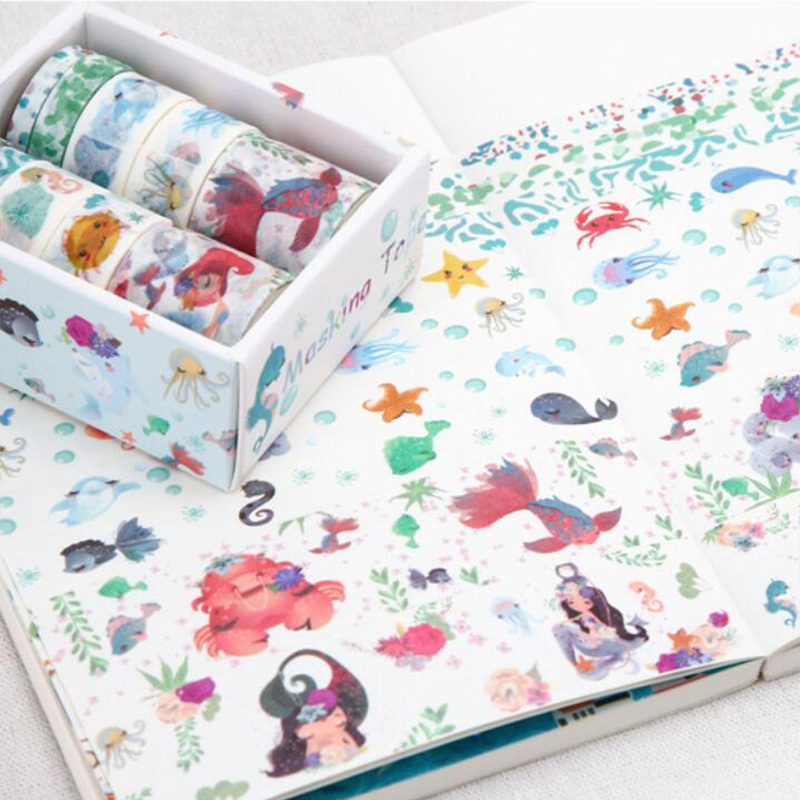 10pcs/pack Mermaid Washi Tape Set DIY Decoration Sticker Scrapbooking Diary Adhesive Masking Tape Stationery School Supply