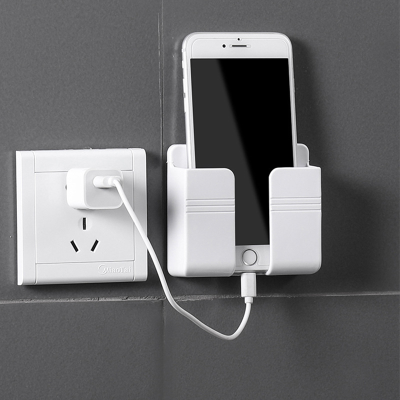 Wall Mounted Organizer Storage Box Remote Control Mounted Mobile Phone Plug Wall Holder Charging Multifunction Holder Stand