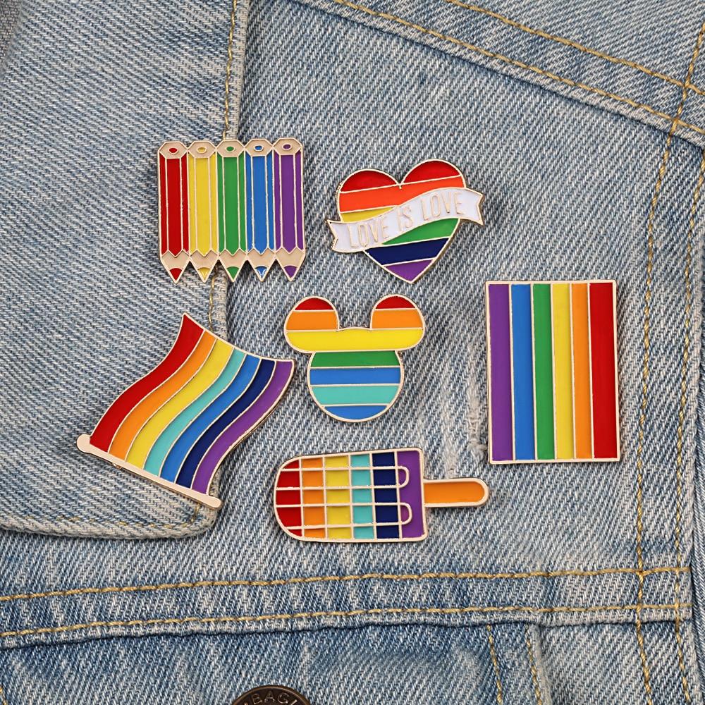 Высококачественная брошь в форме флаги Радуга, эмалированная брошь в форме сердца для геев, значок, джинсовая куртка, ювелирные изделия для ...
