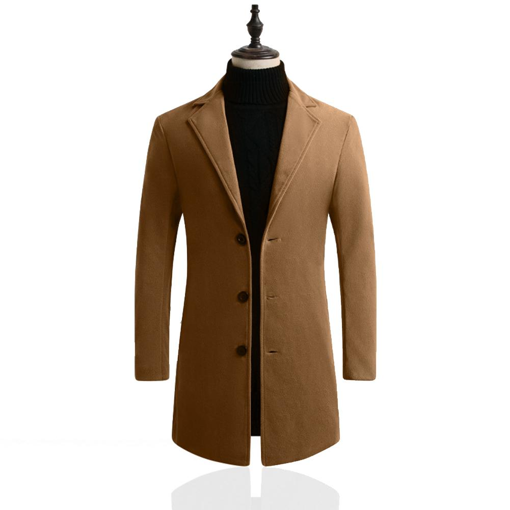 MISSKY New Winter Men Slim Single-breasted Woolen Coat V-Neck Solid Color Lapel Over Size Middle Long Overcoat Male Tops
