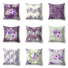 Purple Flowers Print Dacron Single Side Pillow Cover Home Sofa Pillow Case Living Room Bedroom Cushion Cover(China)