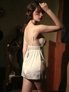 Image 3 - Sexy Lingerie Womens Thin Section Ice Silk Perspective Backless Passion Lace Sling Nightdress Nightgowns Women Sleeping Dress