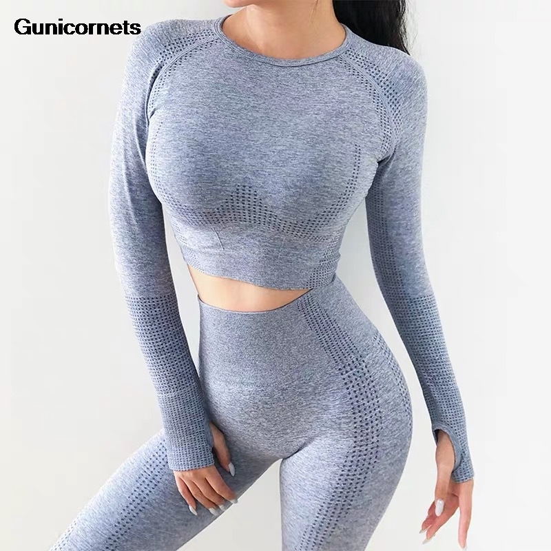 Seamless 2 Piece Women Yoga Set Gym Clothing Fitness Leggings+cropped Shirts Sport Suit Women Long Sleeve Tracksuit Active Wear