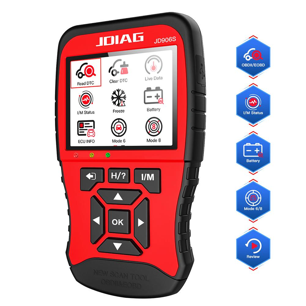 JD906S OBD2 Automotive Car Code Reader Auto Car LCD Display Full Engine Car Diagnostic Tool Free Update Automotive Scanner