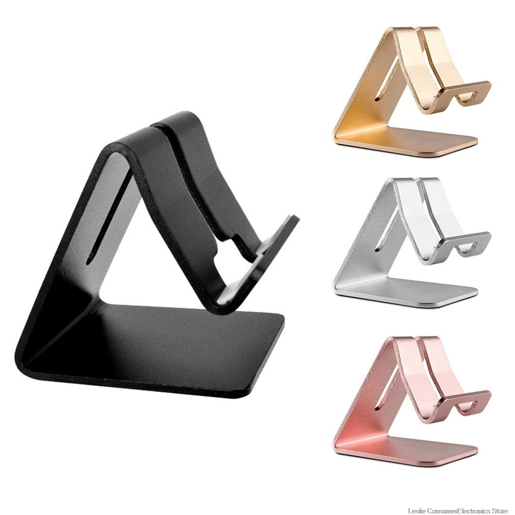 Universal Phone Holder Metal Anti-slip Cell Phone Holders Desktop Desk Mount Phone Stand for iPhone Smartphone Samsung Tablet
