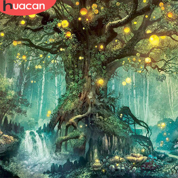 HUACAN Diamond Embroidery Landscape Painting Magic Tree Full Drill Square DIY Decoration Home Mosaic Dream - discount item  35% OFF Arts,Crafts & Sewing