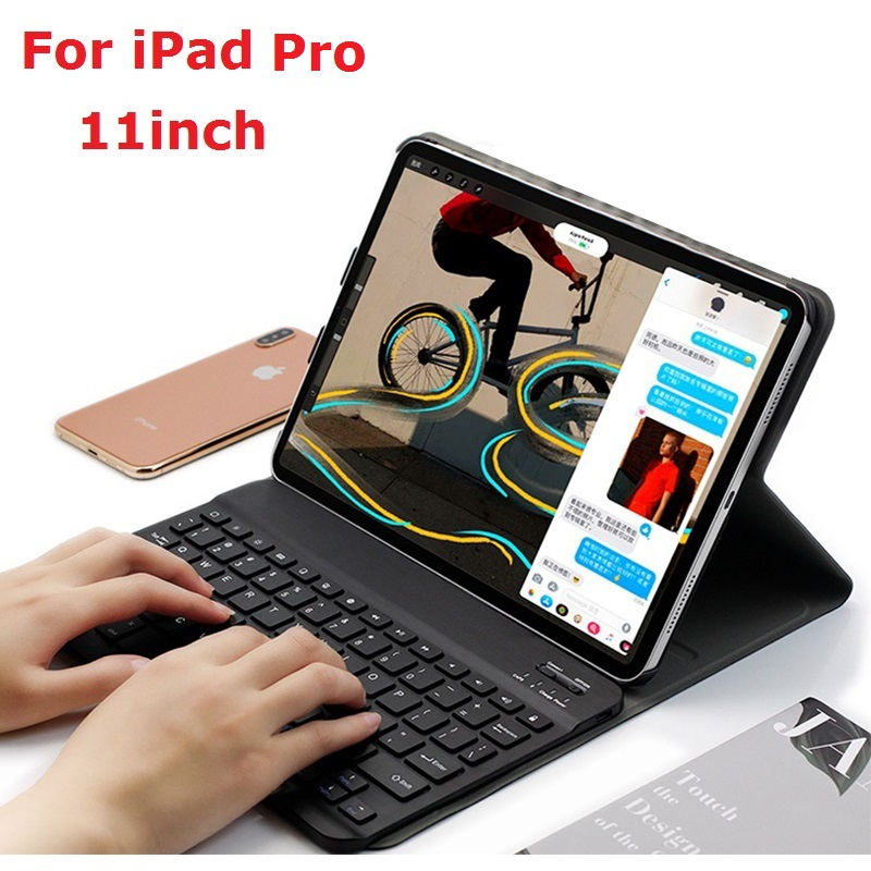Removable Keyboard Coque for <font><b>iPad</b></font> Pro 11 2018 <font><b>Case</b></font> with Keyboard Russian Spanish Wireless Bluetooth A1979 <font><b>A1980</b></font> A2013 A1934 <font><b>Case</b></font> image
