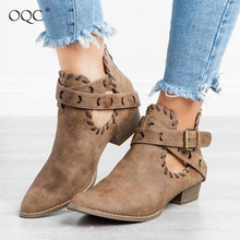 Купить с кэшбэком OQC New Women Zipper Ankle Boots Pointed Belt Buckle Chunky Heel Casual Comfy Daily Boot Women Autumn Winter Retro Wild Boot D25