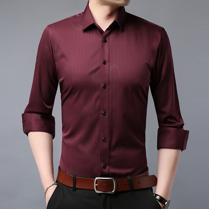 Men Long Sleeve Shirt Slim Fit 2020 Spring New Solid Stripes Business Style Casual Male Shirts C003