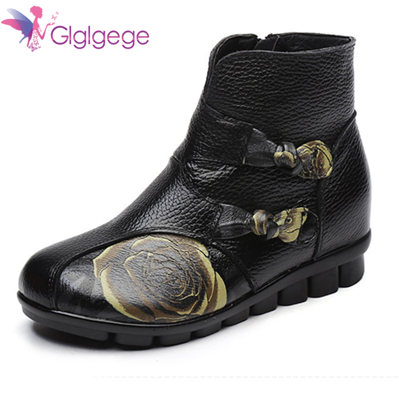 Hot Sale Glglgeg 2019 Women Genuine LeatherShoes Vintage Printing Winter Warm Thick Plush Snow Boots Flats Ankle Boots Women Short boats
