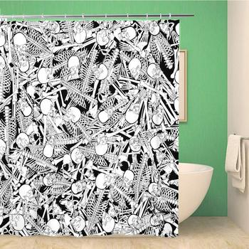 Bathroom Shower Curtain The Boneyard Jumble 3D of Abstract Black and White 72x72 inches Waterproof Bath Curtain Set with Hooks image