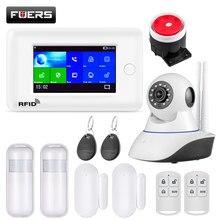 FUERS WIFI GSM GPRS ev güvenlik Alarm sistemi 4.3 inç renkli ekran APP RFID kontrol duman dedektörü PIR hareket dedektörü