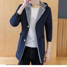Hooded Fur Collar Trench Coat Men Wool Blend Winter Coat Slim Fit Men Mid-Long Black Grey Mens Trench Coat Blue M-5XL male coats dark grey open front lapel collar trench coat