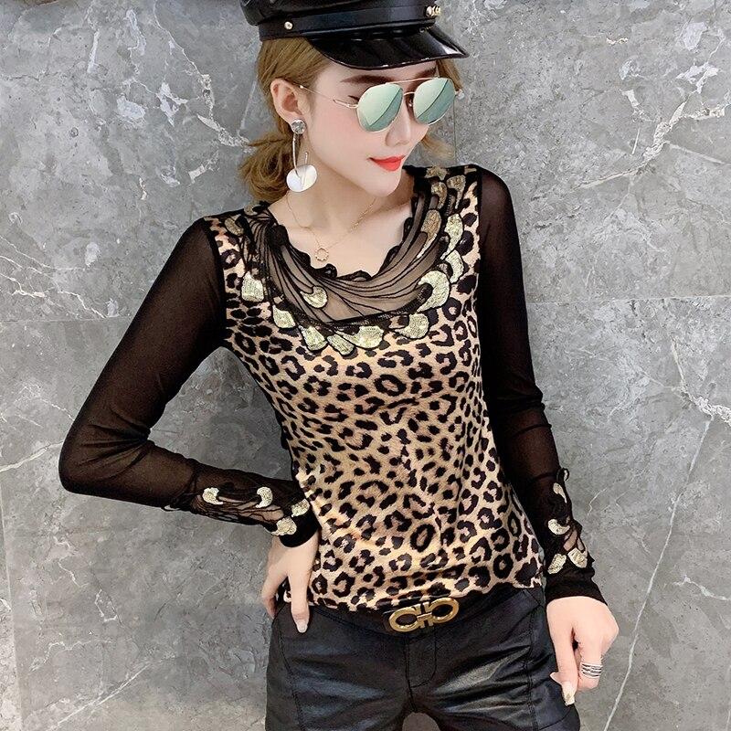 Leopard T-shirt Women Autumn Mesh Patchwork Appliques Embroidery Slim Stretchy Tops Shirt Transparent Long Sleeve S-3XL T98691