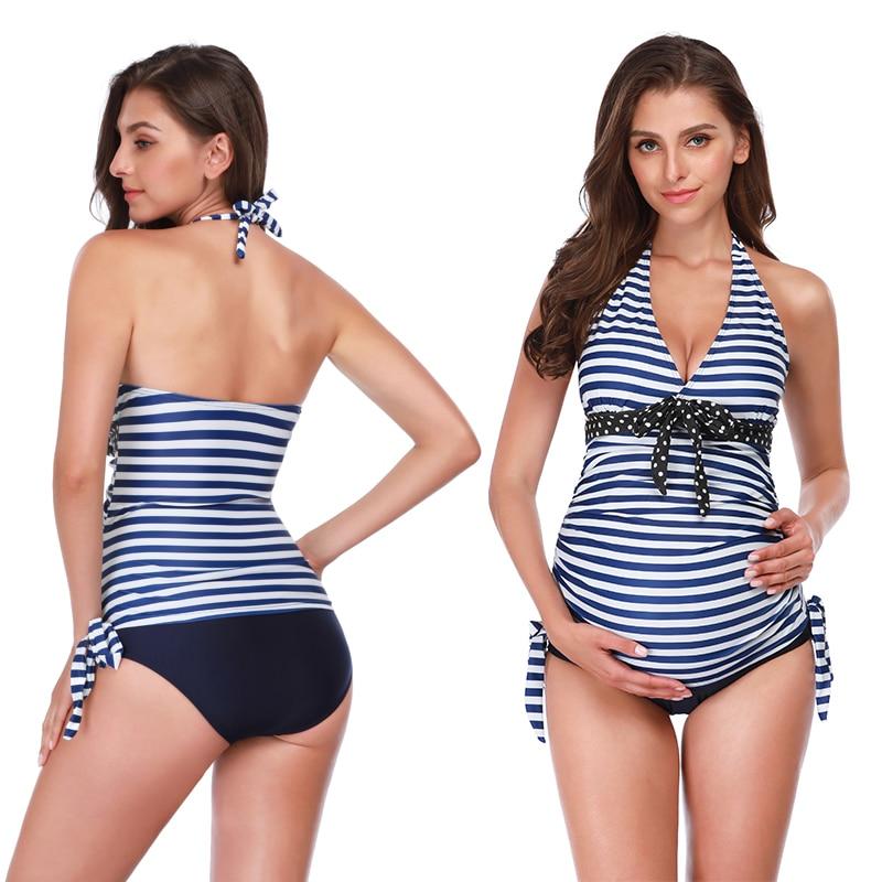 Pregnant Woman Swimsuit S-5XL Striped Bikini Fashion Women Beach Wear Two-Piece Set