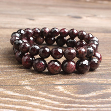 LingXiang fashion Natural Jewelry wine red faceted garnet stone beads Bracelet Charms Yoga Women meditation amulet