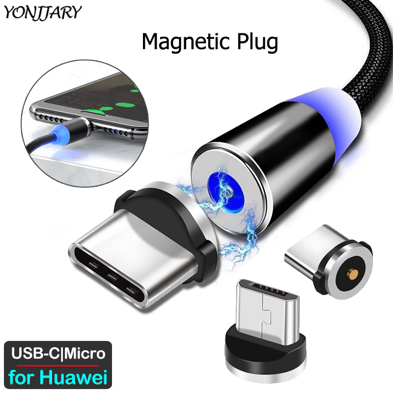 Round Magnetic Adapter Cable For Huawei P40 P30 P20 Pro Lite P Smart Mate 30 20 10 9 Pro Nova 5 6 Micro USB Type C Charger Plug