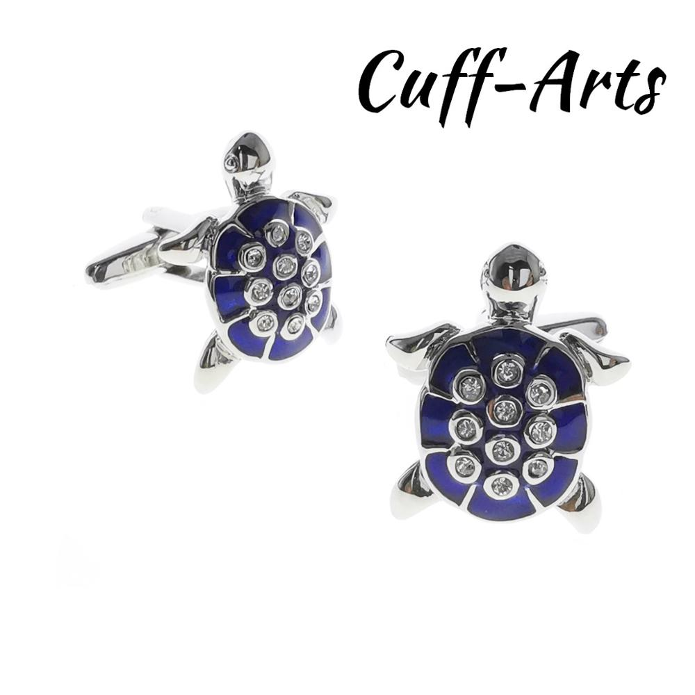 Mens Cufflinks Blue Crystal Turtle  Cufflinks Gifts For Men Gemelos Les Boutons De Manchette By Cuffarts C10550