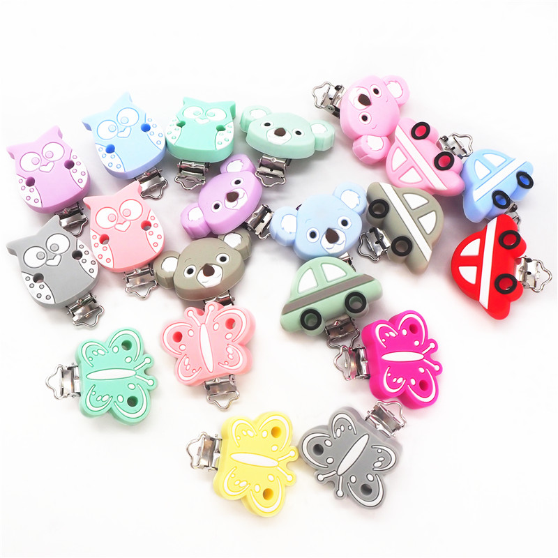 Chenkai 10pcs Silicone Clips Butterfly Owl Car Koala Pacifier Dummy Teether Clips DIY Baby Animal Nursing Toy Accessories