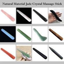 Varilla de masaje de curación de cristal de cuarzo rosa de Jade Natural cara belleza Facial, cuidado de la salud dragado fino masajeador de acupuntura Meridiana