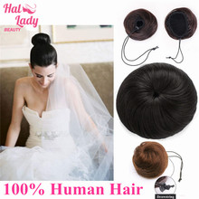 Halo Lady Beauty Drawstring Ponytail Hair Extension Bun Updo Hairpiece Real Human Hair Bun Donut Chignon Hair Piece Wig Non-remy(China)