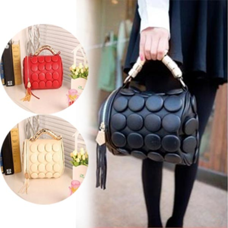 New Fashion Women Messenger Bag PU Leather Handbag Multifunctional Cylinder Shoulder Bags With Tassel Bolsos Mujer OH66