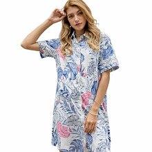 YOMING YM24 camicia a maniche lunghe da donna Casual moda camicette con stampa da donna top colletto rovesciato abito con bottoni a manica lunga