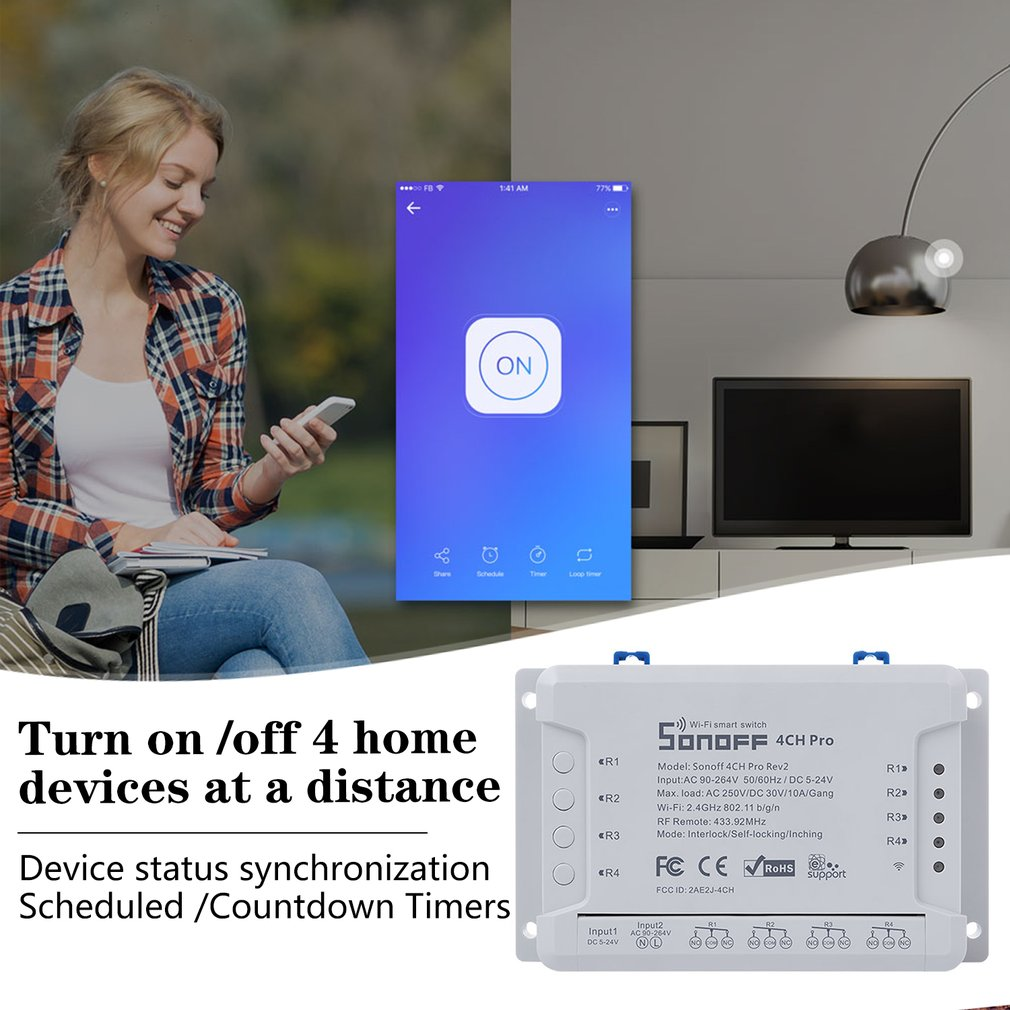 4CH PRO R2 4 Channel Din Rail Mounting WiFI Switch Smart Home Automation Module On/Off Wireless Timer Diy  Smart Light Switch Home Automation Modules     - title=