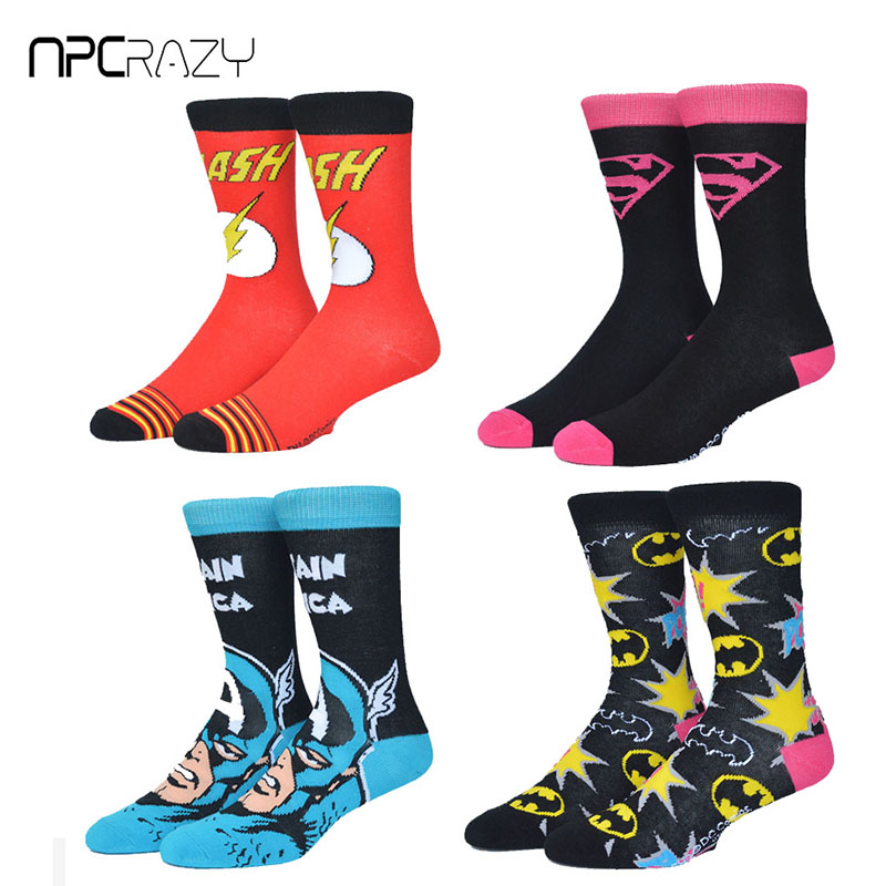 Socks Men Sport Sock Superman Batman American Captain Skate Sock Print Colorful Cotton Funny Sox Wonder Women Cartoon Basketball