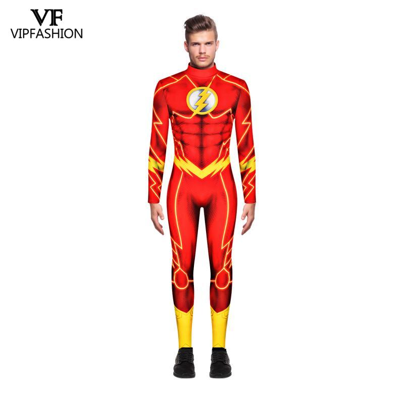 VIP FASHION Anime Movie <font><b>Barry</b></font> <font><b>Allen</b></font> The <font><b>Flash</b></font> Cosplay <font><b>Costumes</b></font> Muscle Carnival Halloween Zentai Superhero <font><b>Costumes</b></font> For Men image