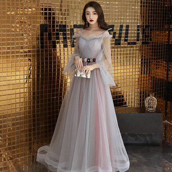 Elegant Long Sleeve Tulle Long Prom Evening Dresses Flower Belt Formal Party Gown Spaghetti straps Pageant Dress 2019 New