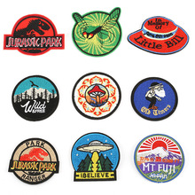 20pcs/lot Round Circular Embroidery Iron on Patches Letter Biker  for Clothing Badge Sewing Accessories