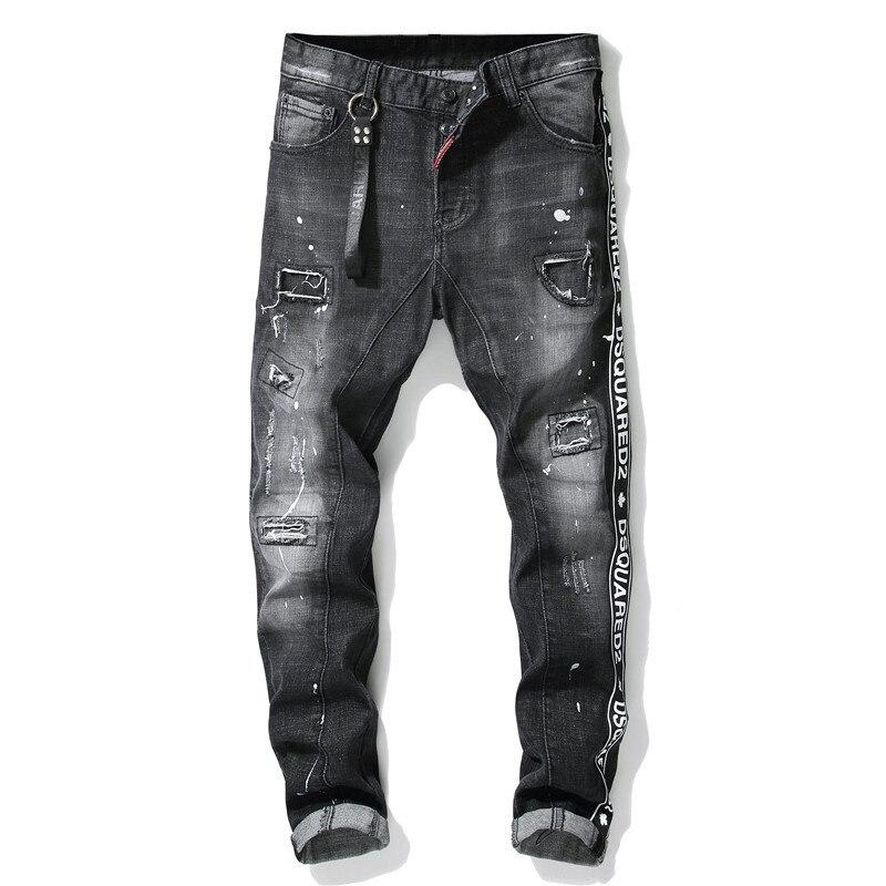 European American Style Famous Brand Black Jeans Men Slim Jeans Patchwork Letter Moto & Biker Jeans Pants Black Hole Jeans Men