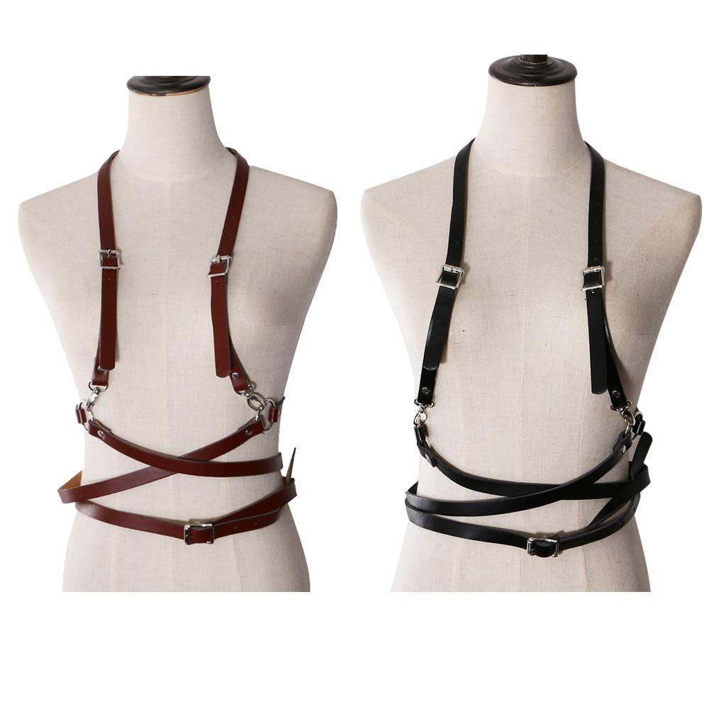 Women Ladies Faux Leather Suspenders Belt Harness Punk Braces Dress Shirt Outfit Decoration 2 Pieces