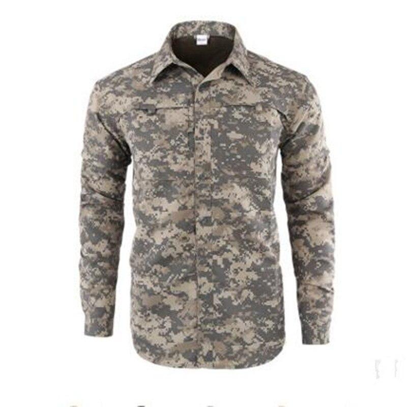 Мужская быстросохнущая рубашка на открытом воздухе Съемная с длинным/коротким рукавом дышащая походная Военная Маскировочная рубашка Спортивная одежда - Цвет: ACU Camouflage