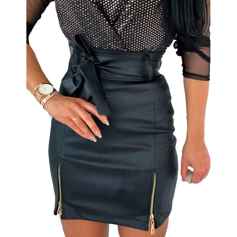 Women PU Leather Pencil Skirt Summer Sexy Black Bodycon High Waist Mini Bottoms Bowknot Zipper Solid Slim Short Vestidos