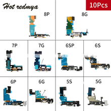 10pcs Charging Port Flex Cable for iPhone 6 6S 7 8 Plus USB Dock Connector With Mic Charger Ports 5 5S 5C