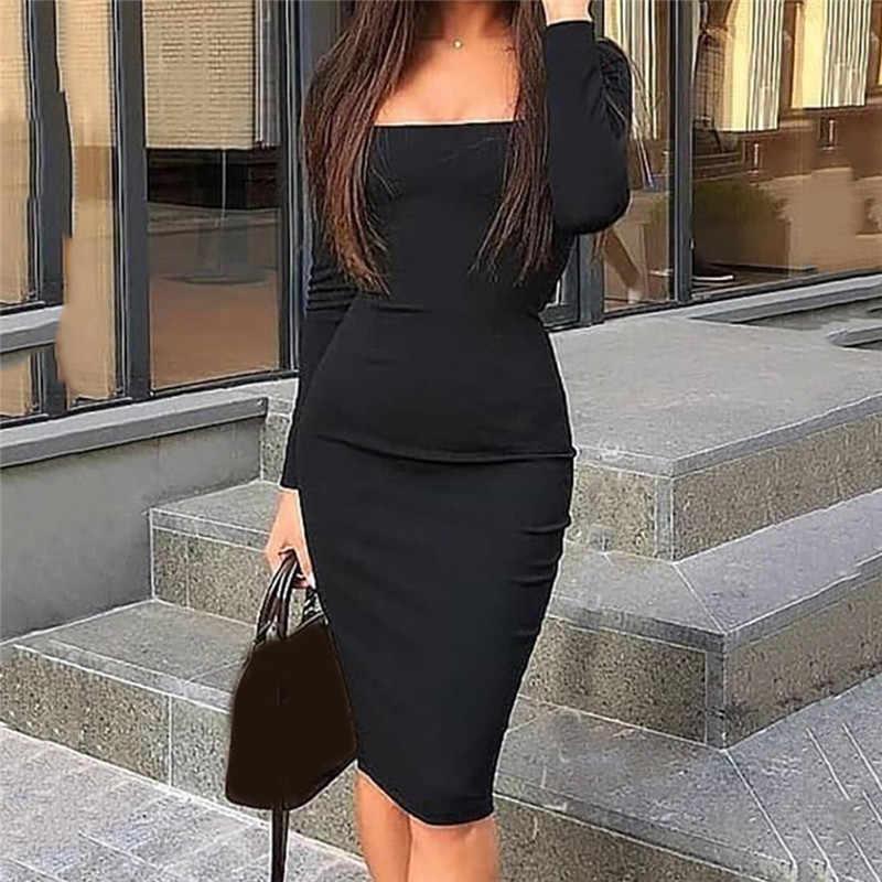 우아한 드레스 여성 긴 소매 Bodycon 복장 숙녀 가을 캐주얼 드레스 파티 드레스 Xmas 따뜻한 코튼 겨울 드레스 뜨거운