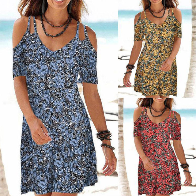 Summer Ladies Mid-length Dress Beach Casual Dress Sling V-neck Printed Slim Dress Plus Size S-5XL 1
