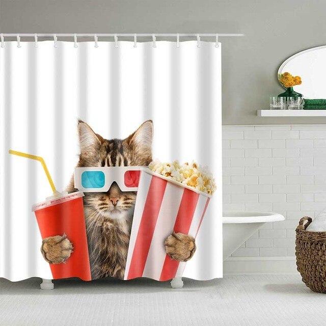 Cute Cat 3D Printed Shower Curtain Cartoon Animal Polyester Fabric Bath Curtain for Bathroom Curtain Decoration Shower Curtains 2