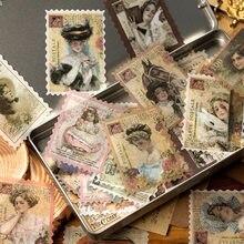 Autocollants décoratifs rétro de la série de la poste, étiquette de bâton de Scrapbooking, papeterie Vintage de fleur pour Album journal intime