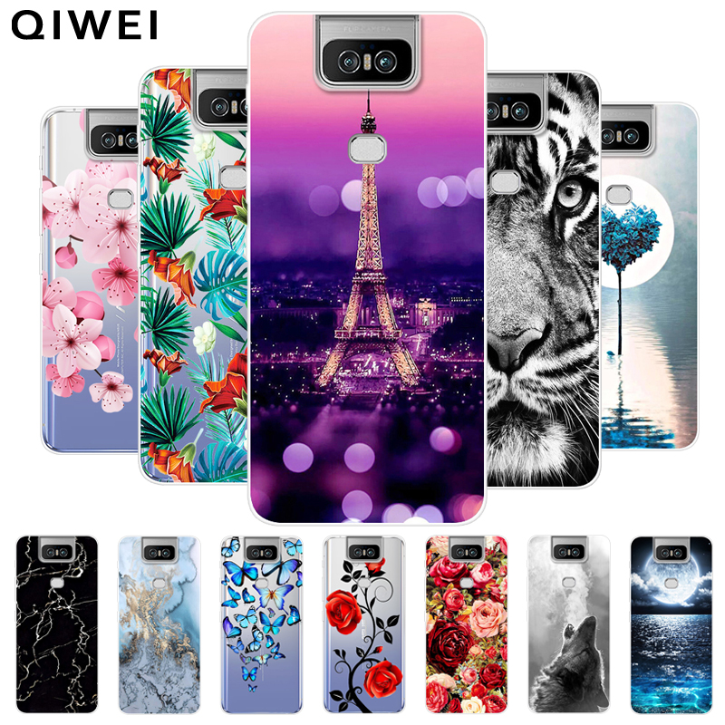 For <font><b>Asus</b></font> <font><b>Zenfone</b></font> <font><b>6</b></font> ZS630KL <font><b>Case</b></font> <font><b>2019</b></font> clear Flowers Soft TPU Fundas Silicone Back Cover For <font><b>Asus</b></font> Zenfone6 ZS630KL 6Z Phone <font><b>Cases</b></font> image