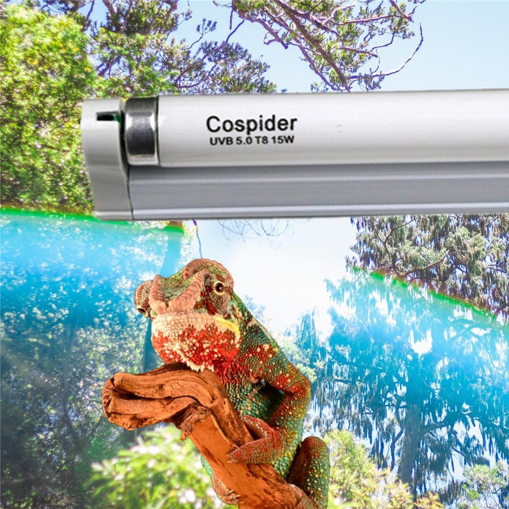 UVB 5.0 Fluorescent rainforest bulb lamp tube,Stimulates plant growth reptiles and amphibians appetite,15 watt T8,18-Inch