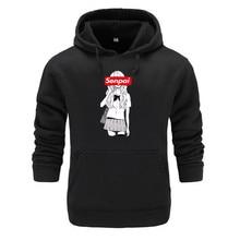 Зимние мужские семпай аниме девочка ботан дизайн принт флис толстовки кофты осень унисекс черная толстовка человек одежда