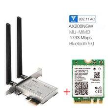 デスクトップ pci e 1X ワイヤレスネットワークアダプタコンバータ 2400 150mbps の無線 lan 6 802.11ax ため AX200NGW と 2.4/5 ghz の BT5.0 MU MIMO